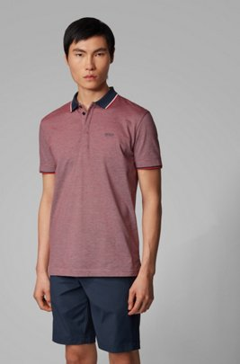 Cotton-piqué polo shirt with three-color micro pattern, Dark Blue
