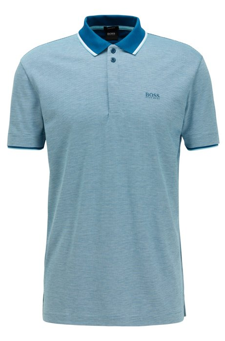 Cotton-piqué polo shirt with three-color micro pattern, Blue
