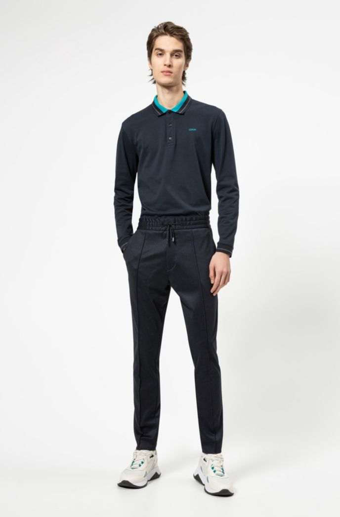 Tapered-fit pants in micro-check jersey