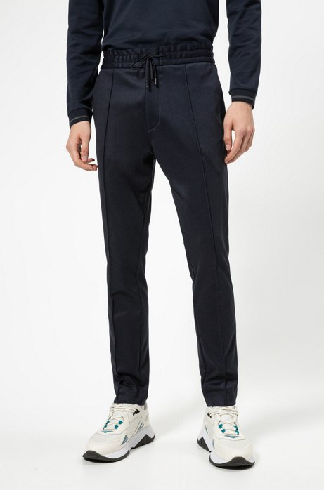 Tapered-fit pants in micro-check jersey, Dark Blue