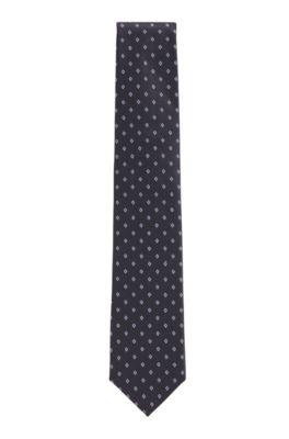 Diamond-motif tie in a silk-blend jacquard, Dark Blue