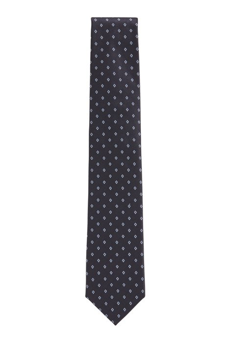 Diamond-motif tie in a silk-blend jacquard, Dark Blue