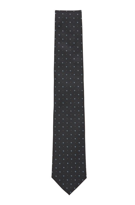 Italian-made tie with jacquard micro pattern, Light Blue