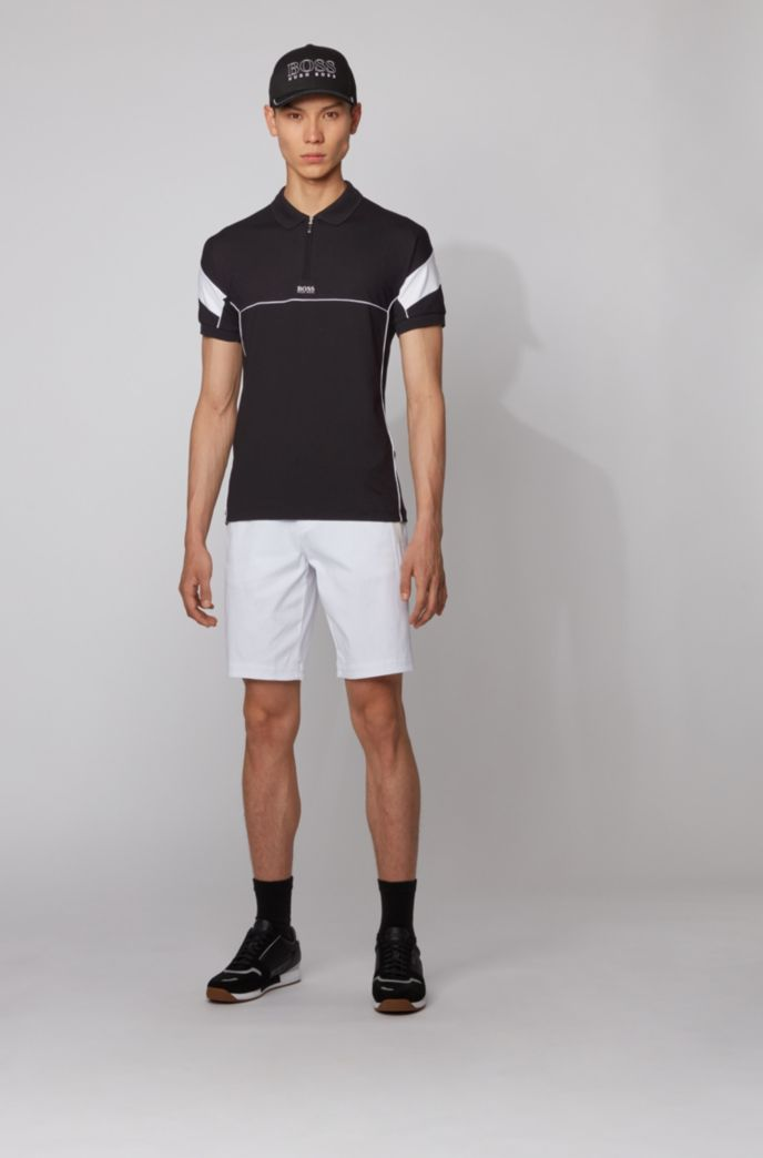 Slim-fit polo shirt with zip neck and S.Café®