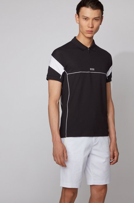 Slim-fit polo shirt with zip neck and S.Café®, Black