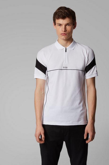 Slim-fit polo shirt with zip neck and S.Café®, White