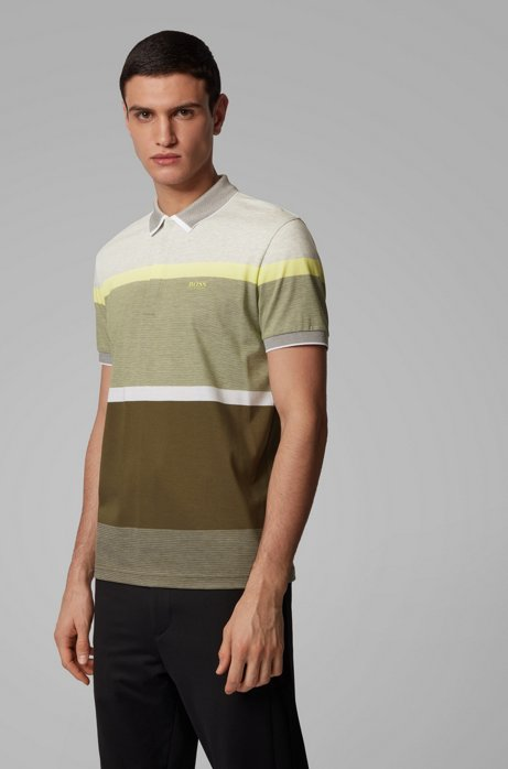 Regular-fit polo shirt with engineered color-block stripes, Dark Green