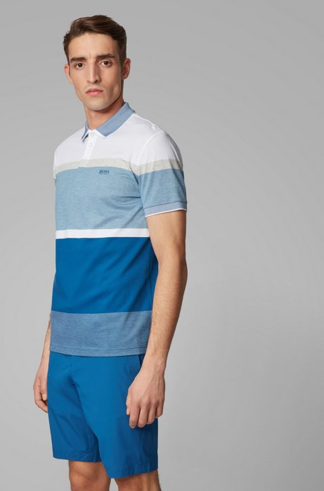Regular-fit polo shirt with engineered color-block stripes, Blue