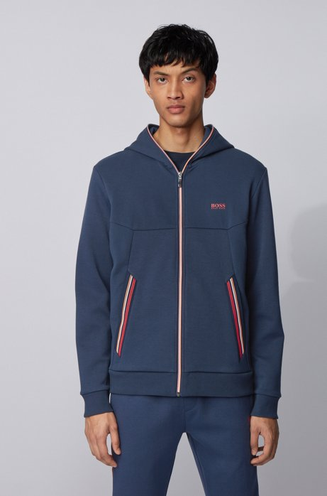 Hooded sweatshirt with extended front zipper and contrast stripes, Dark Blue