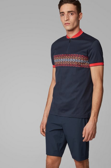 Regular-fit polo shirt with logo intarsia, Dark Blue