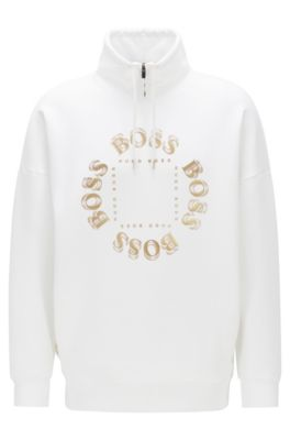 High-neck sweatshirt with layered metallic logo, Natural
