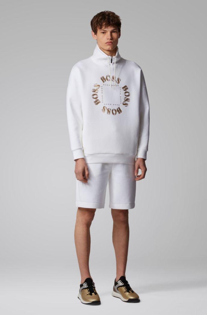 High-neck sweatshirt with layered metallic logo