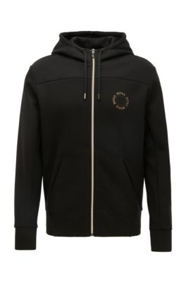 Zip-through hoodie with layered metallic logo, Charcoal