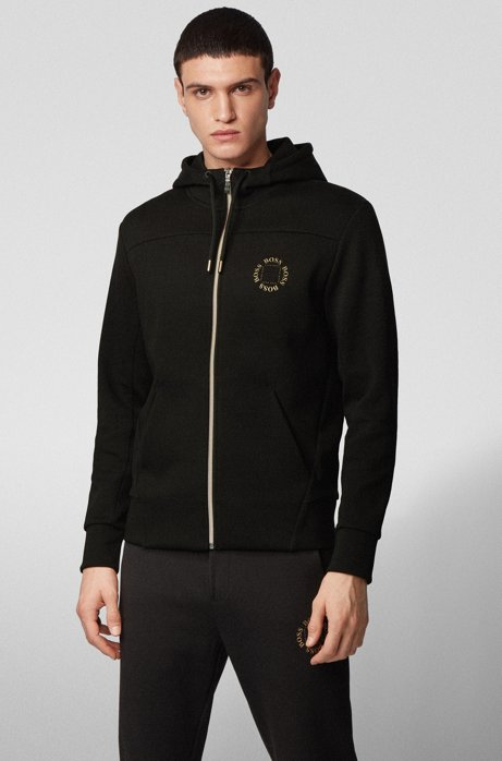 Zip-through hoodie with layered metallic logo, Charcoal