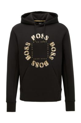 Hooded sweatshirt with layered metallic logo, Dark Grey