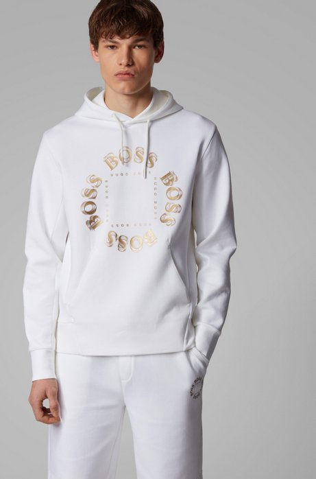 Hooded sweatshirt with layered metallic logo, Natural