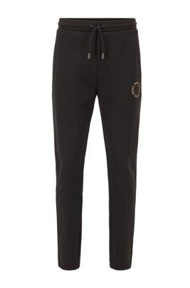 Regular-fit jogging pants with layered metallic logo, Dark Grey