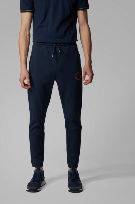 Regular-fit jogging pants with layered metallic logo, Dark Blue