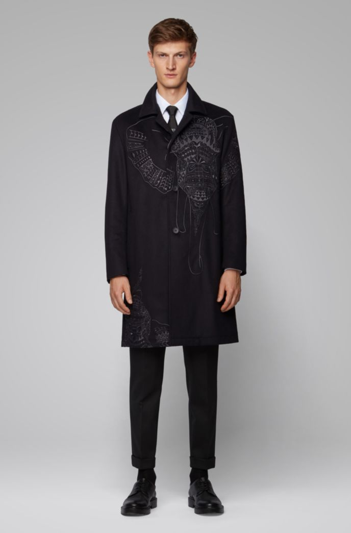 Automobile coat in wool and cashmere with elephant embroidery