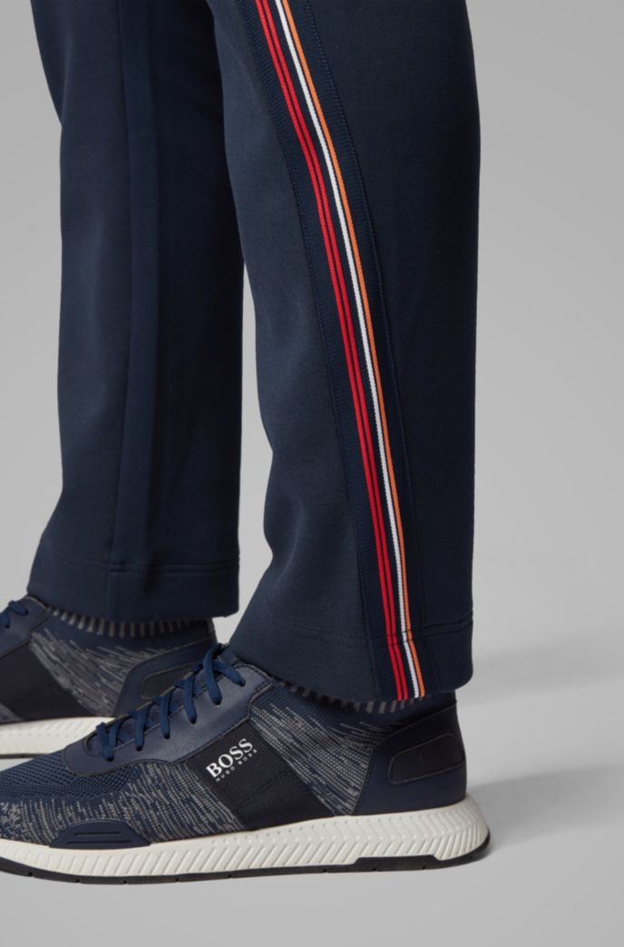 Regular-fit pants with drawstring in piqué jersey