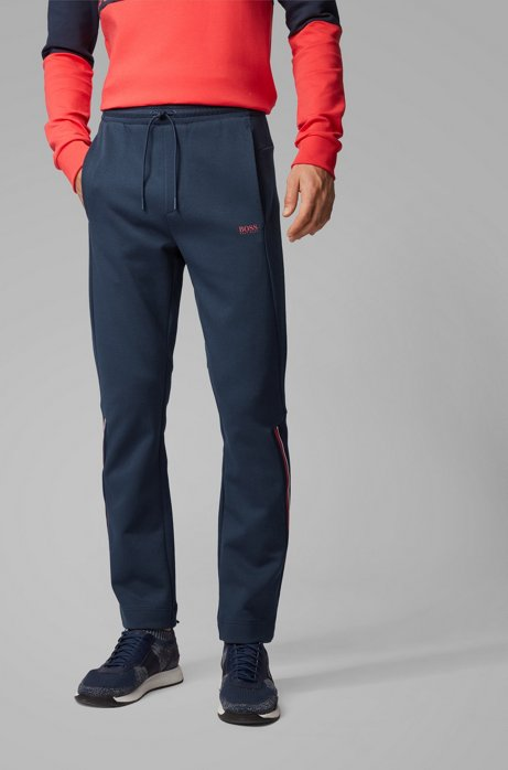 Regular-fit pants with drawstring in piqué jersey, Dark Blue