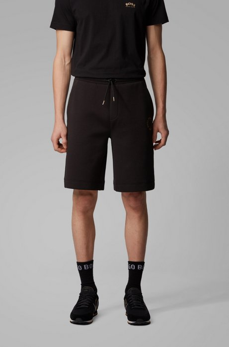Relaxed-fit shorts with layered metallic logo, Charcoal