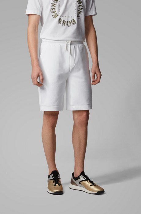 Relaxed-fit shorts with layered metallic logo, Natural