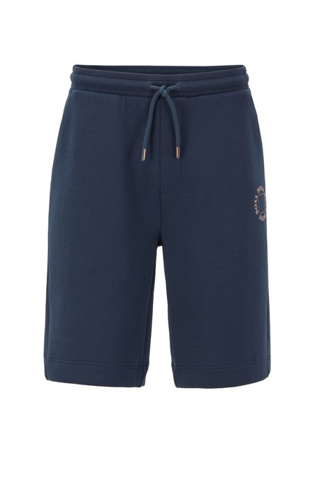Relaxed-fit shorts with layered metallic logo, Dark Blue