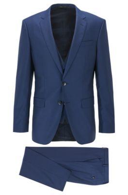 Slim-fit three-piece suit in patterned virgin wool, Dark Blue