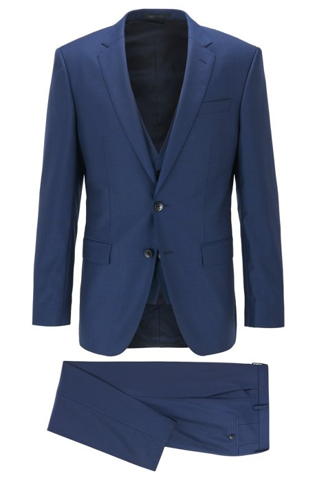 Slim-fit three-piece suit in patterned virgin wool, Dark Blue