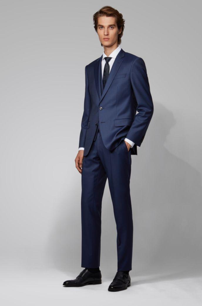 Slim-fit three-piece suit in patterned virgin wool