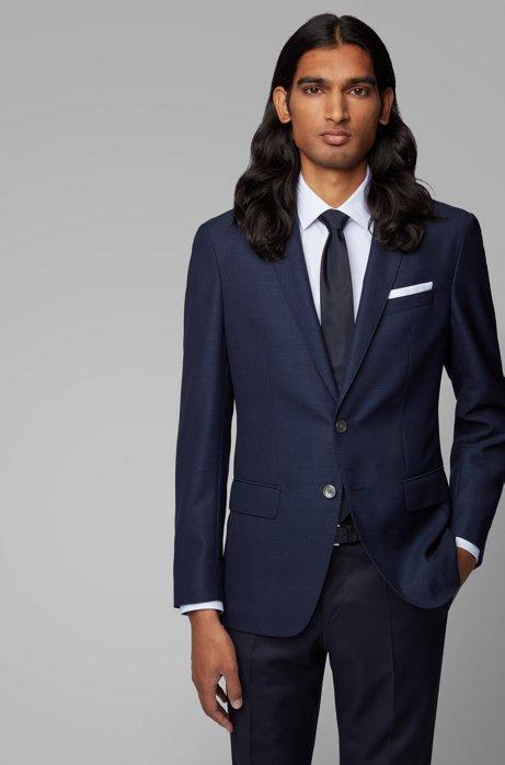 Slim-fit jacket in virgin wool with pocket square, Dark Blue