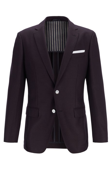 Slim-fit jacket in virgin wool with pocket square, Dark Red