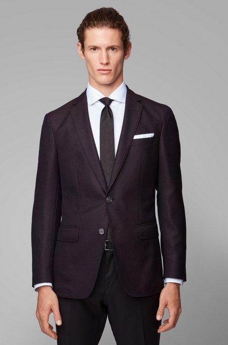 Slim-fit jacket in virgin wool with pocket square, Dark Red