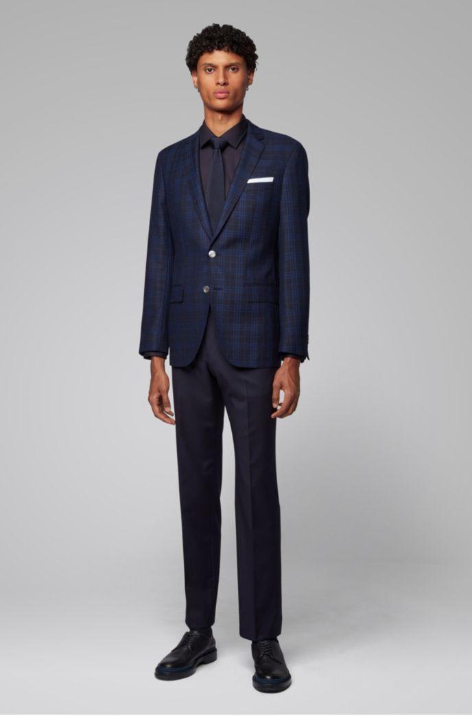 Slim-fit jacket in checked virgin wool