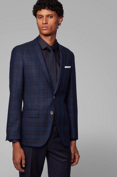Slim-fit jacket in checked virgin wool, Dark Blue