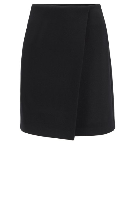 Wrap-front mini skirt in Italian wool twill, Dark Blue