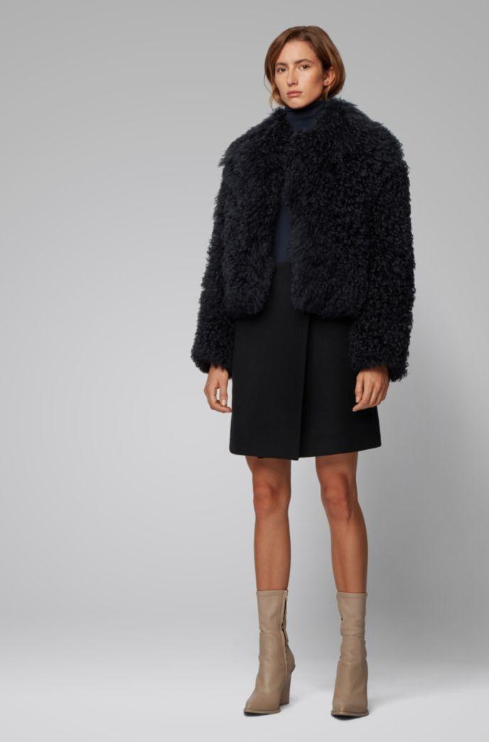 Wrap-front mini skirt in Italian wool twill