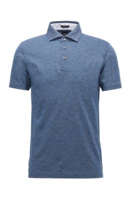 Slim-fit polo shirt in Italian cotton jacquard, Dark Blue