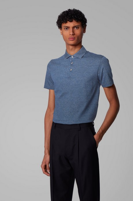 Slim-fit polo shirt in Italian cotton jacquard, Dark Blue