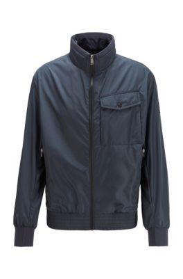 Water-repellent jacket in high-shine fabric, Dark Blue