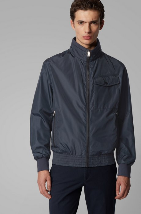 Water-repellent jacket in high-shine fabric, Dark Blue
