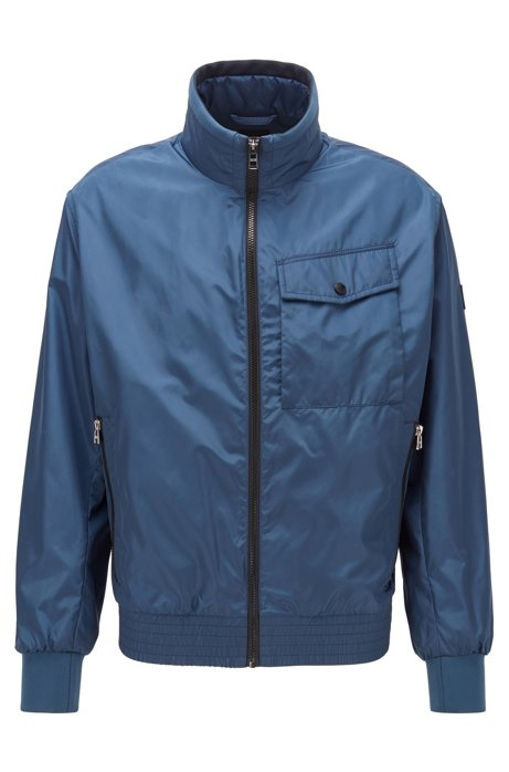 Water-repellent jacket in high-shine fabric, Open Blue