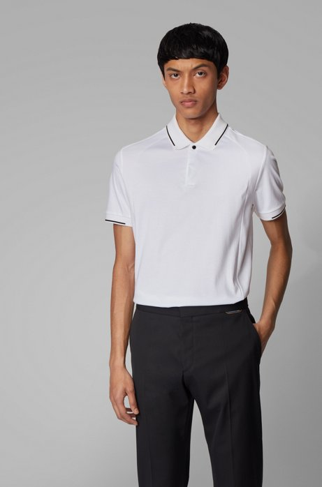Slim-fit polo shirt in cotton with lustrous trims, White