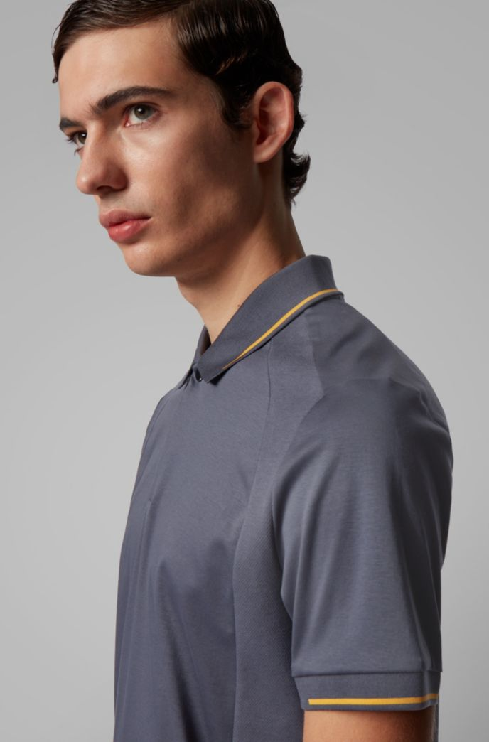 Slim-fit polo shirt in cotton with lustrous trims