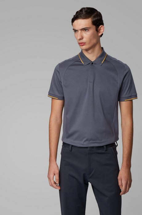 Slim-fit polo shirt in cotton with lustrous trims, Dark Blue