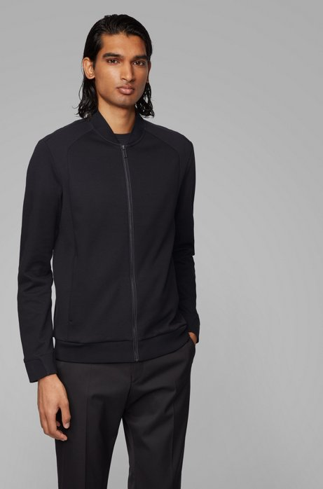 Zip-through sweatshirt in a cotton blend, Black