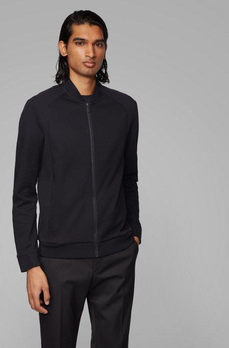 Zip-through sweatshirt in a cotton blend, Black