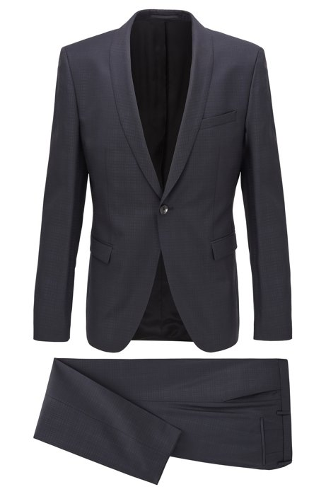 Extra-slim-fit suit in checkered virgin wool, Black