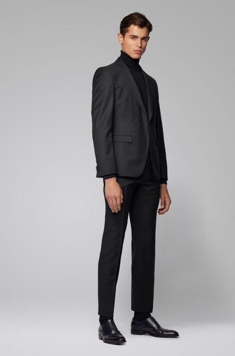 Extra-slim-fit suit in checkered virgin wool, Black